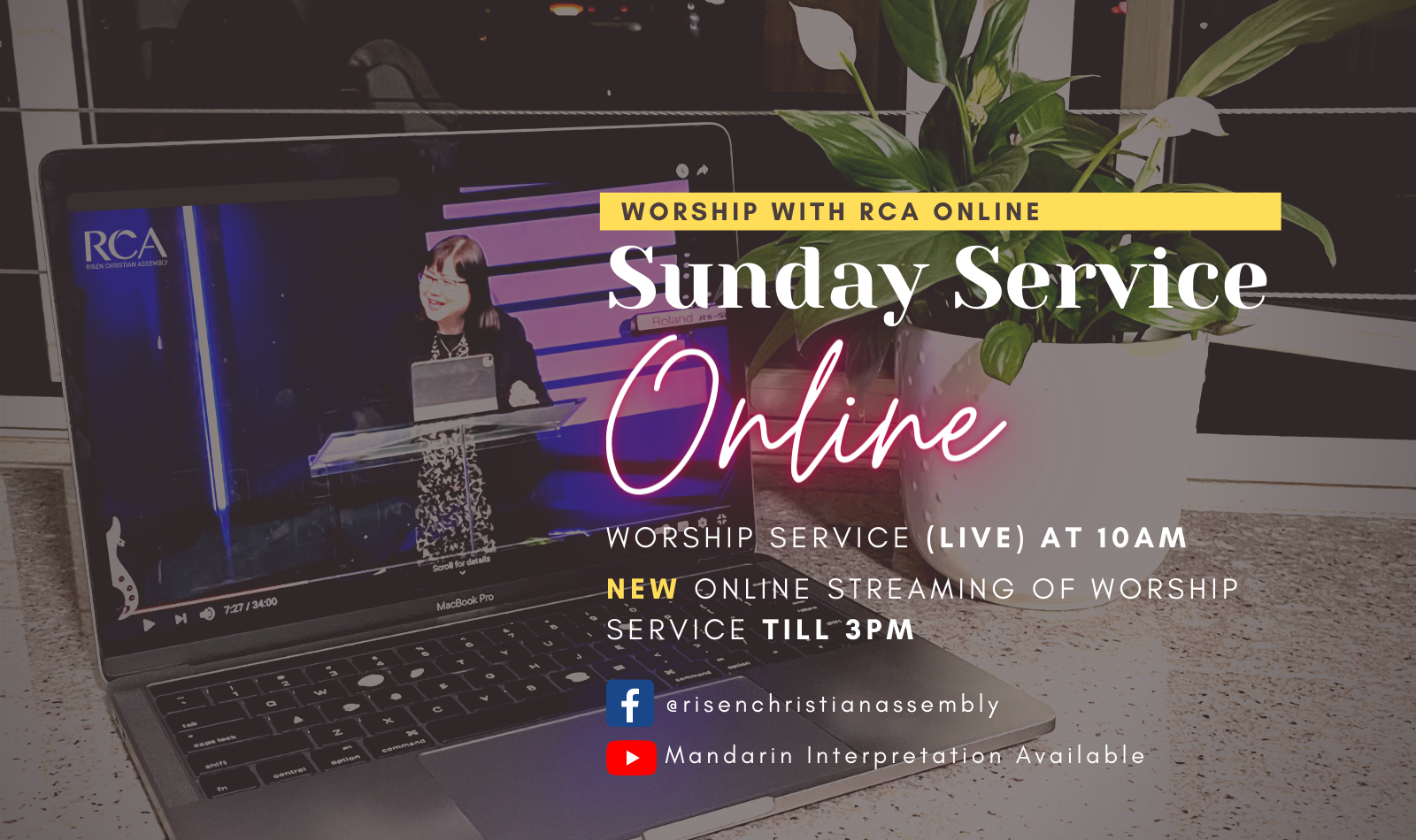 Worship Jesus with RCA at our online service on Sundays.